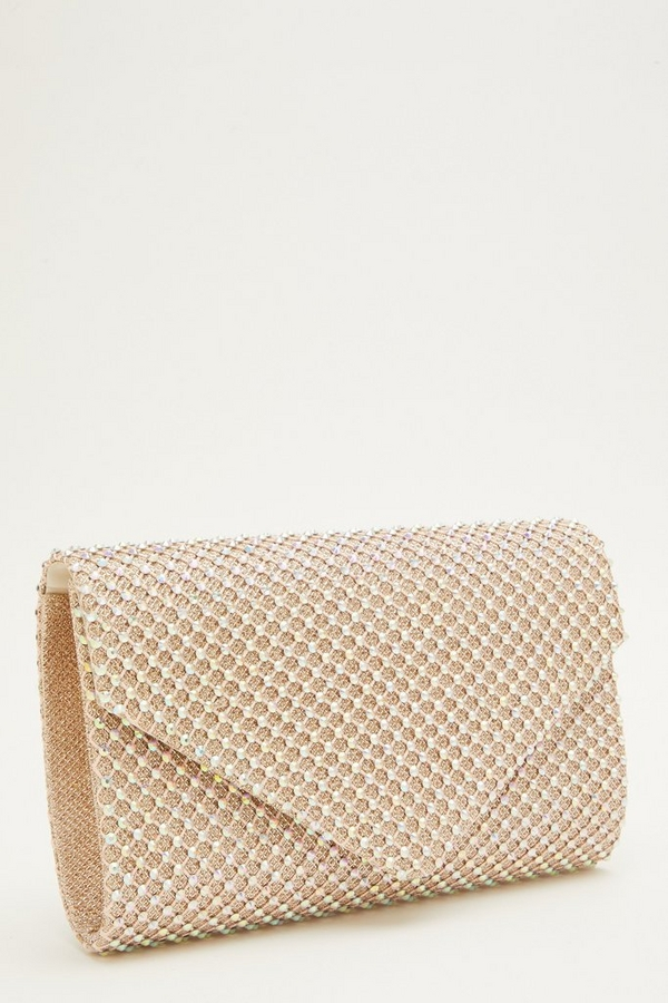 Rose Gold Diamante Clutch Bag