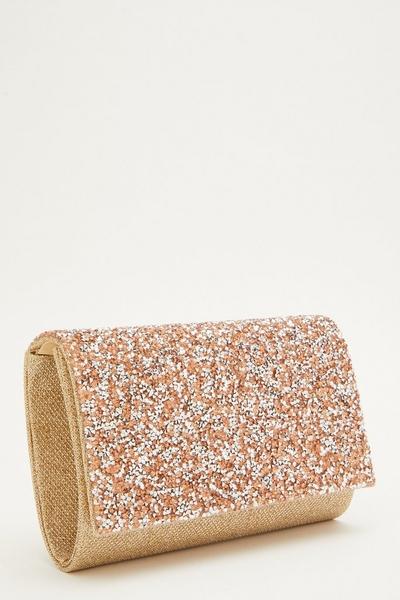 Rose Gold Glitter Flap Bag
