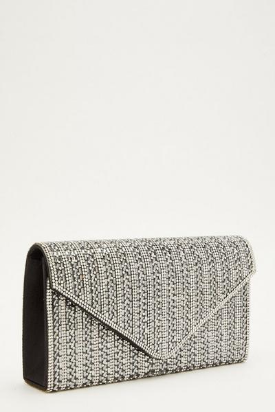 Black Diamante Envelope Bag