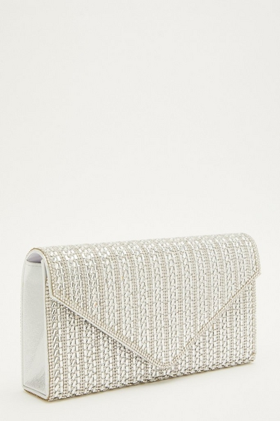 Silver Diamante Envelope Bag