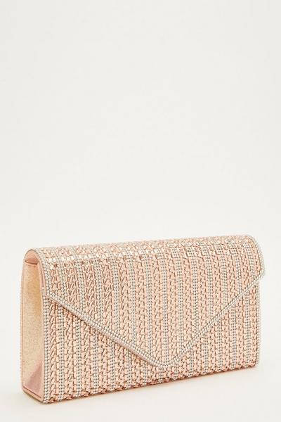 Rose Gold Diamante Envelope Bag