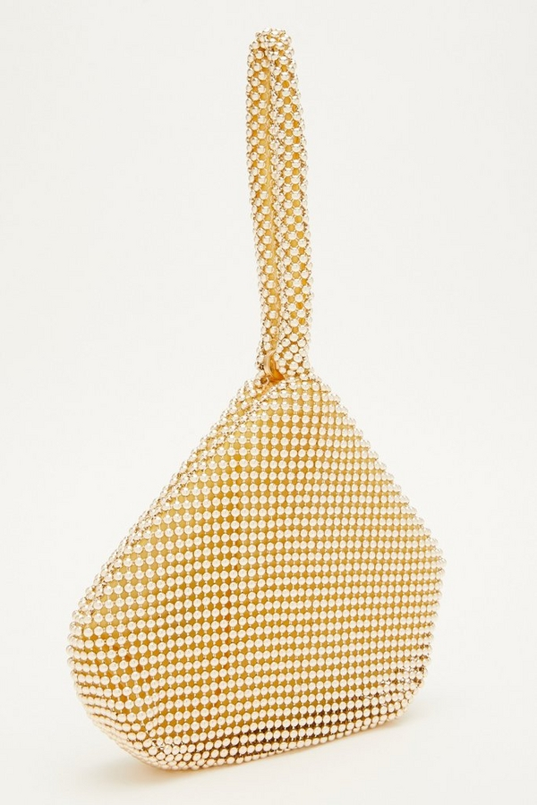 Gold Beaded Pouch Bag