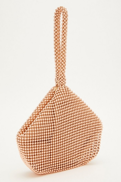 Rose Gold Beaded Pouch Bag