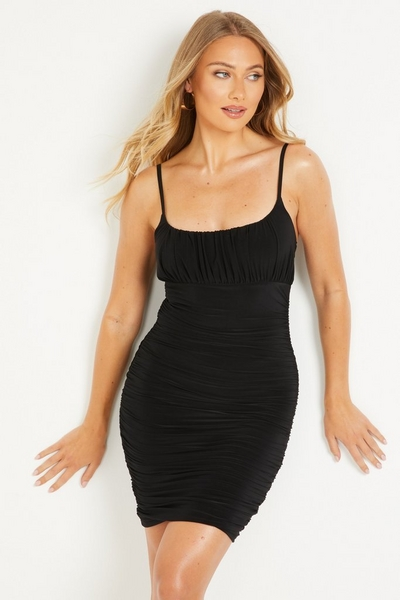 Black Ruched Bodycon Dress