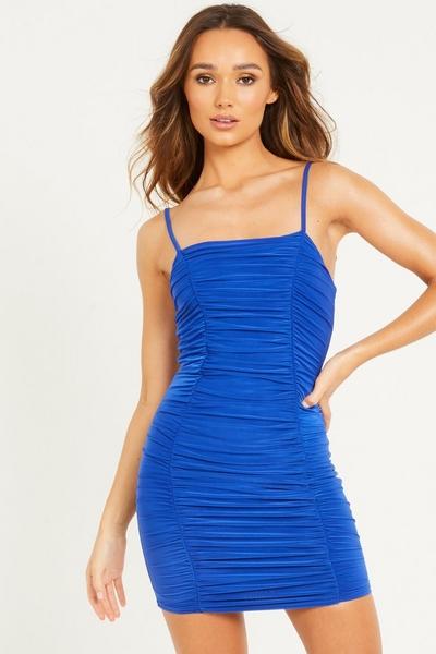 Blue Ruched Bodycon Mini Dress