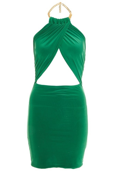 Green Chain Wrap Over Dress