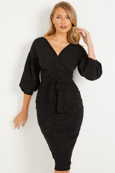 Black Glitter Bardot Puff Sleeve Dress