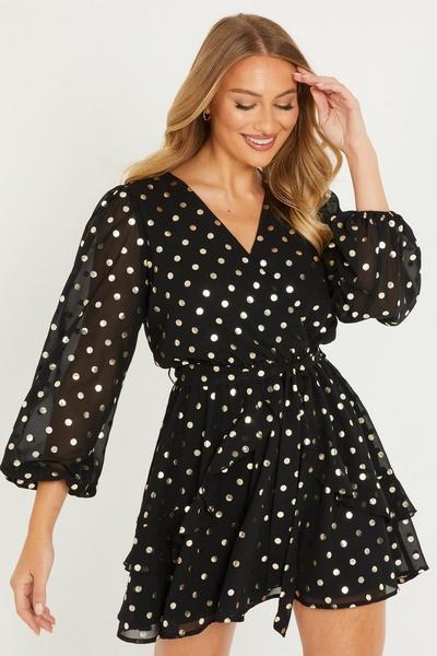 Black Polka Dot Frill Skater Dress