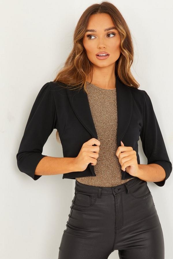 Black Shawl Collar Crop Jacket