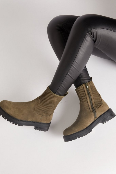 Khaki Faux Suede Ribbed Ankle Boots