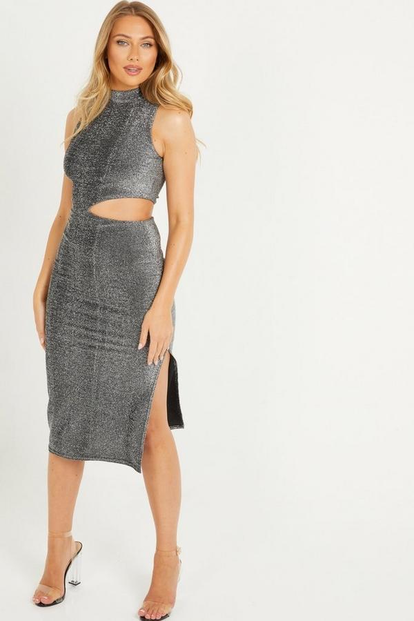 Black Glitter Cut Out Midi Dress