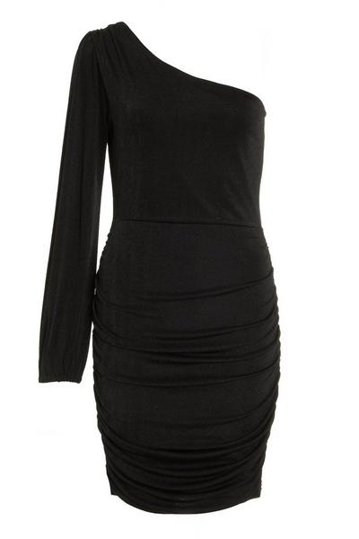 Black One Shoulder Ruched Dress