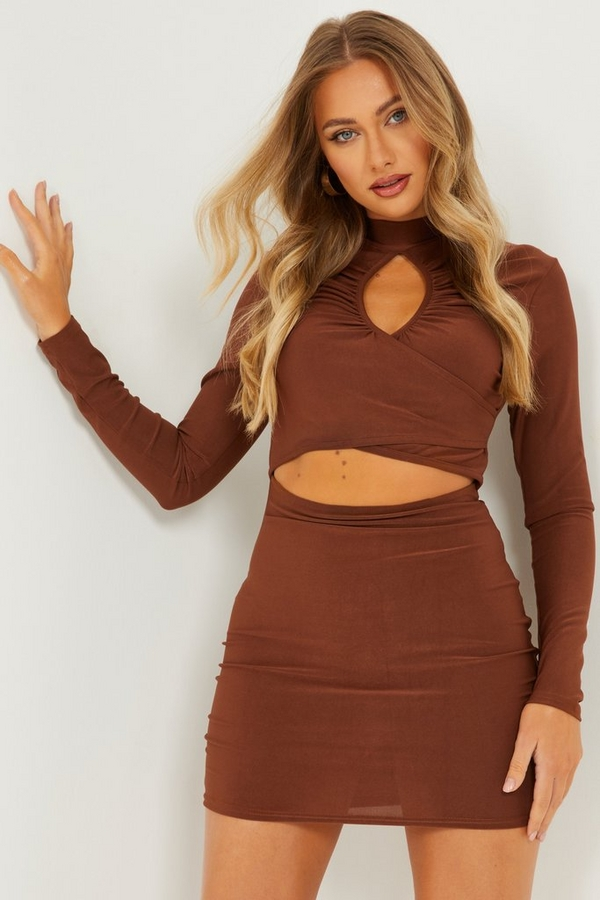 Brown Long Sleeve Cut Out Dress