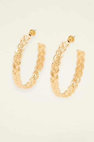 Gold Woven Hoop Earring
