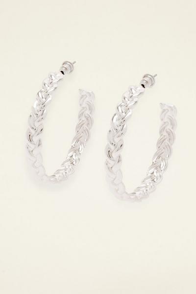 Silver Woven Hoop Earring