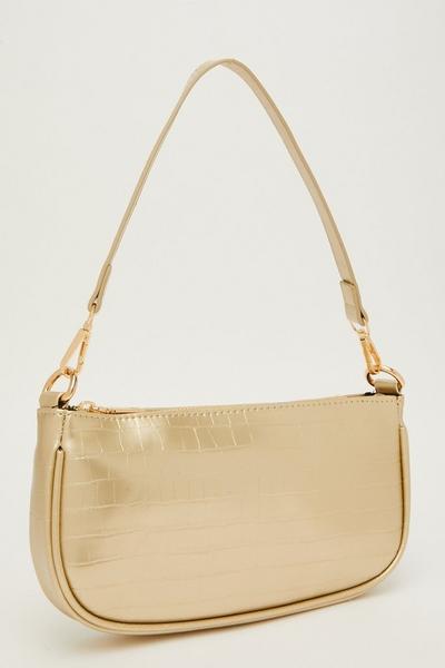 Gold Crocodile Print Shoulder Bag