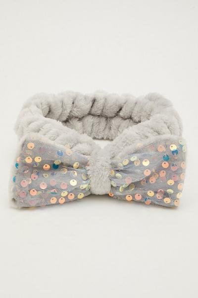 Grey Sequin Bow Beauty Headband