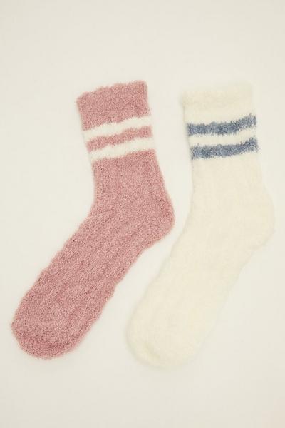 Pink and White Stripe Socks