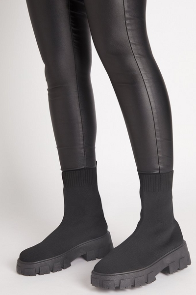 Black Chunky Sock Boots