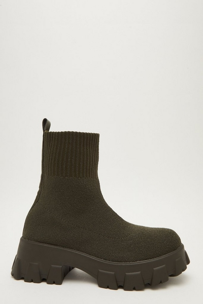 Khaki Chunky Sock Boots