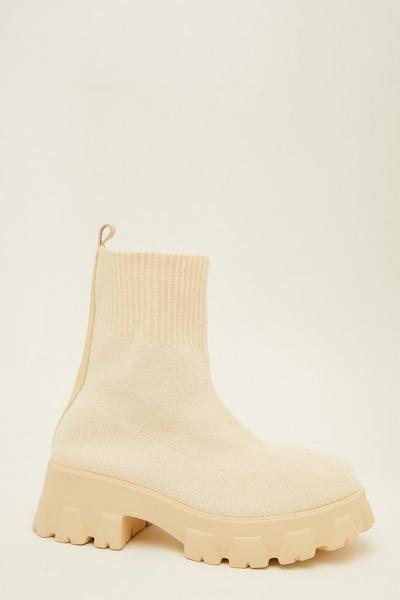 Cream Chunky Sock Boots