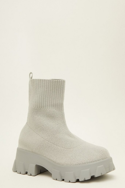 Grey Chunky Sock Boots