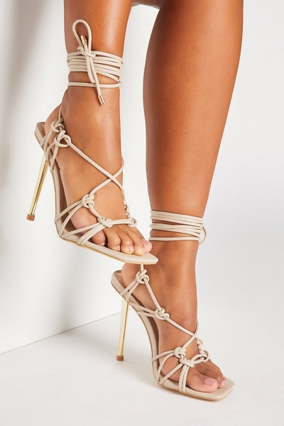 Nude Faux Leather Lace Up Heels
