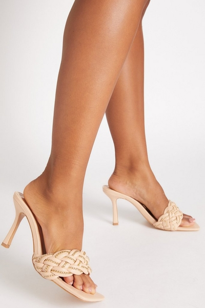 Nude Chain Woven Strap Heeled Mules