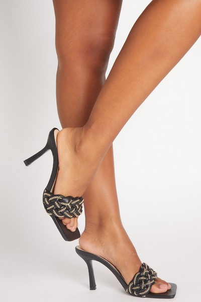 Black Chain Woven Strap Heeled Mules