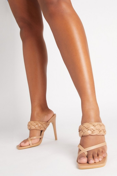 Nude Faux Leather Woven Heeled Mules