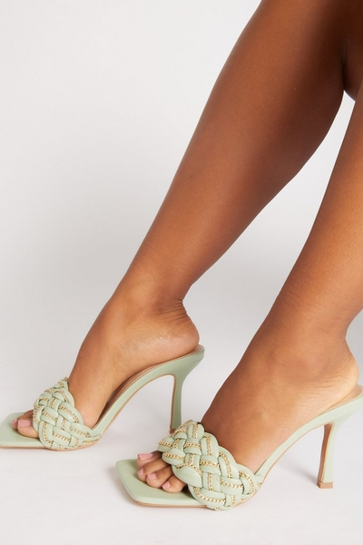 Green Chain Woven Strap Heeled Mules
