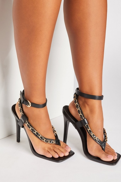 Black Chain Strap Heeled Sandals