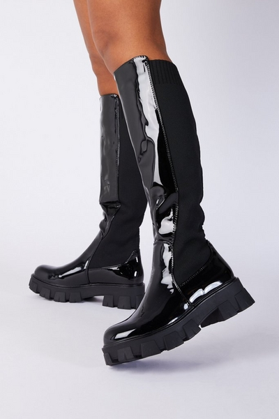 Black Patent Faux Leather Knee High Boots
