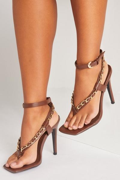 Brown Chain Strap Heeled Sandals