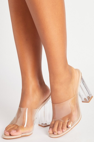 Nude Clear Strap Heeled Mules