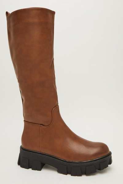 Tan Faux Leather Knee High Boots