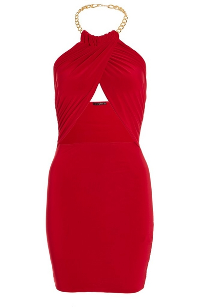 Red Chain Wrap Over Dress