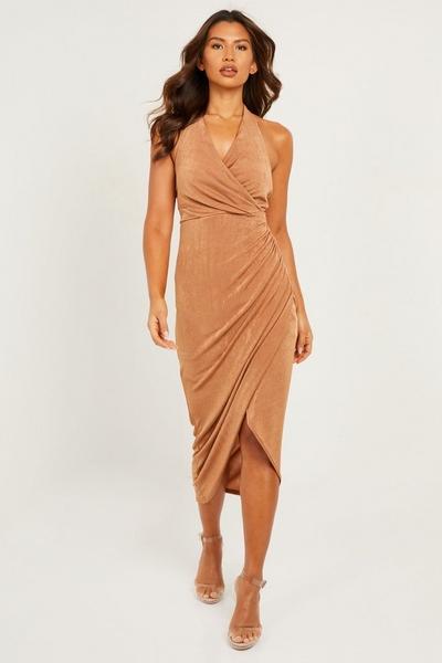 Tan Ruched Halterneck Maxi Dress