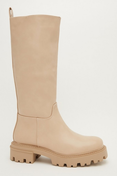 Stone Faux Leather Knee High Chunky Boot