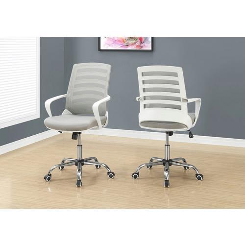 Office Chair - White & Grey Mesh