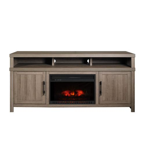 "72"" Mystic Oak Fireplace TV Console with 26"" Firebox"