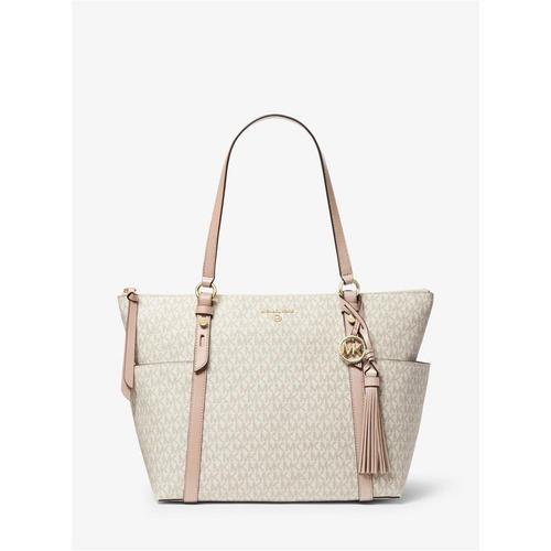 Large Vanilla/Soft Pink Top Zip Tote