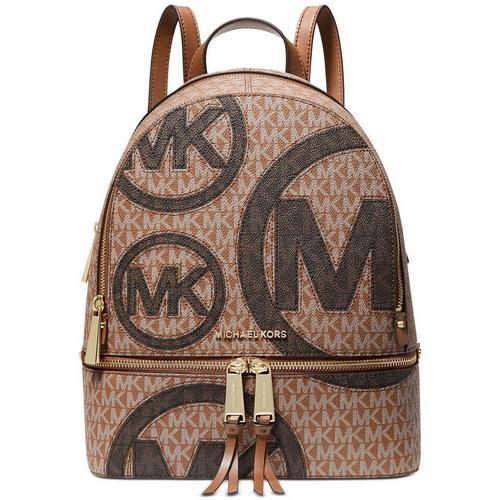 Rhea Zip Medium Backpack - Tan Print