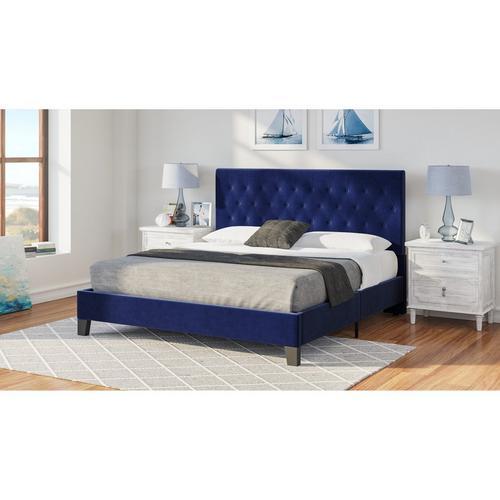Amelia King Upholstered Bed - Dark Blue