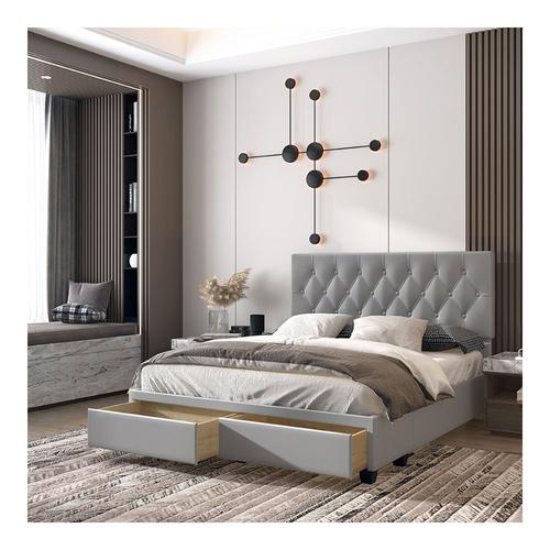 Uptown Queen Platform Storage Bed - Gray
