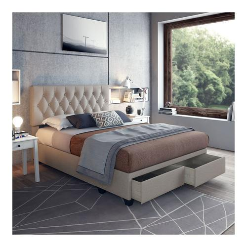 Sensations Queen Platform Storage Bed - White