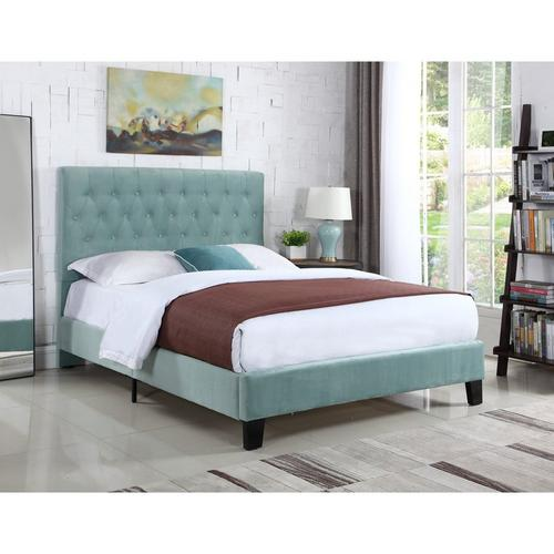 Amelia Queen Upholstered Bed - Light Blue