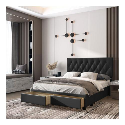 Uptown Queen Platform Storage Bed - Black Faux Leather Fabric