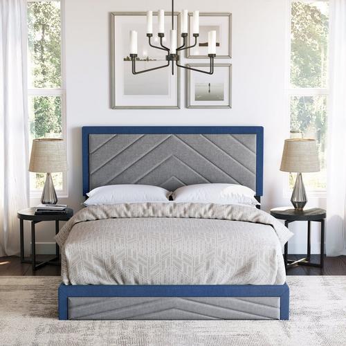 Batavia King Platform Bed - Blue & Grey