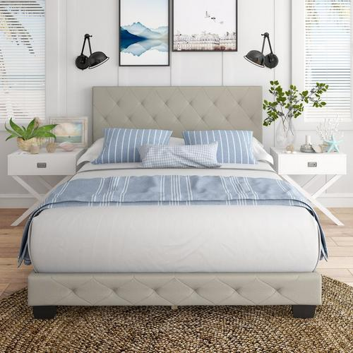 Caldwell Queen Platform Bed - Off White